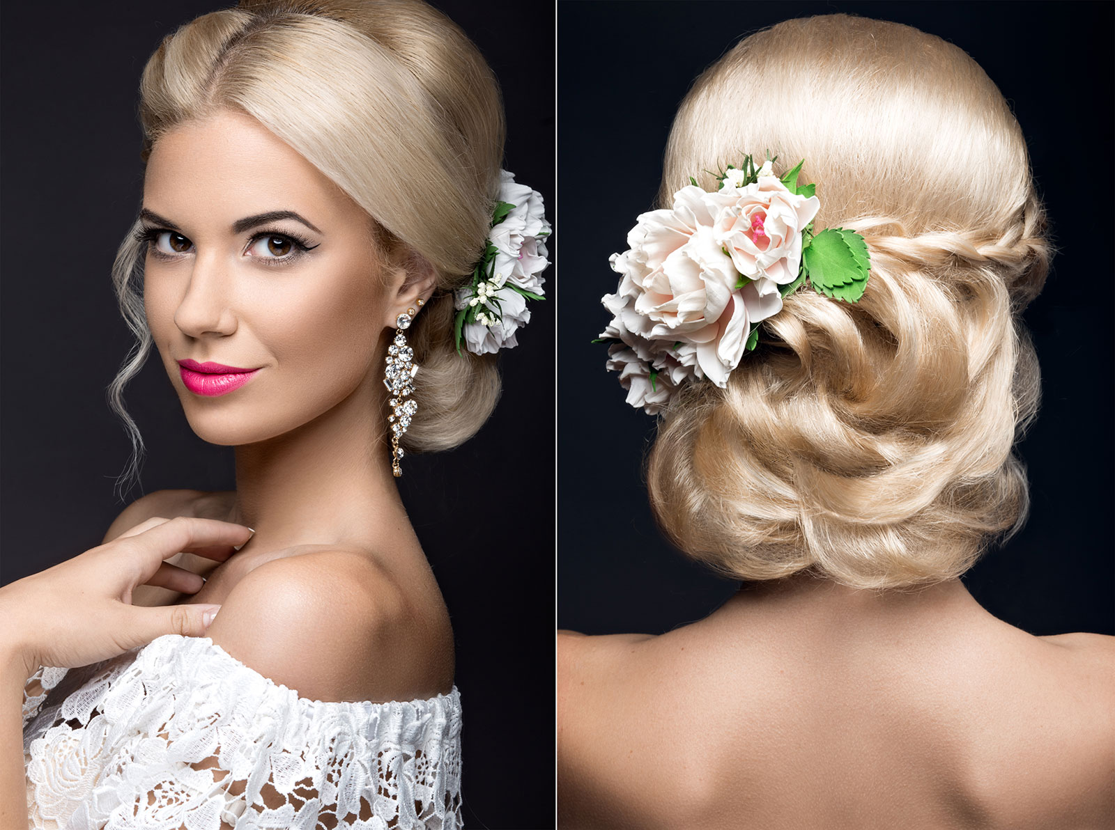 Blonde loose plaited bun with flowers wedding Hairstyle