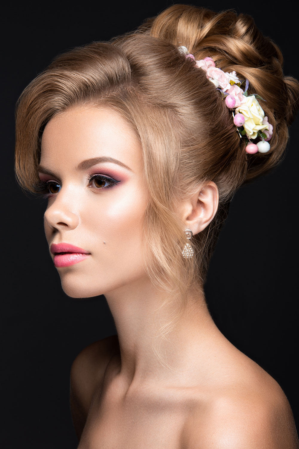 Blonde or brunette style up with flowers Wedding Hairstyle