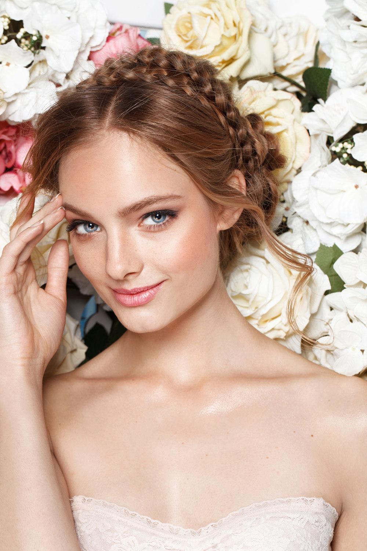 Brunette dutch braid updo Bridal hairstyle