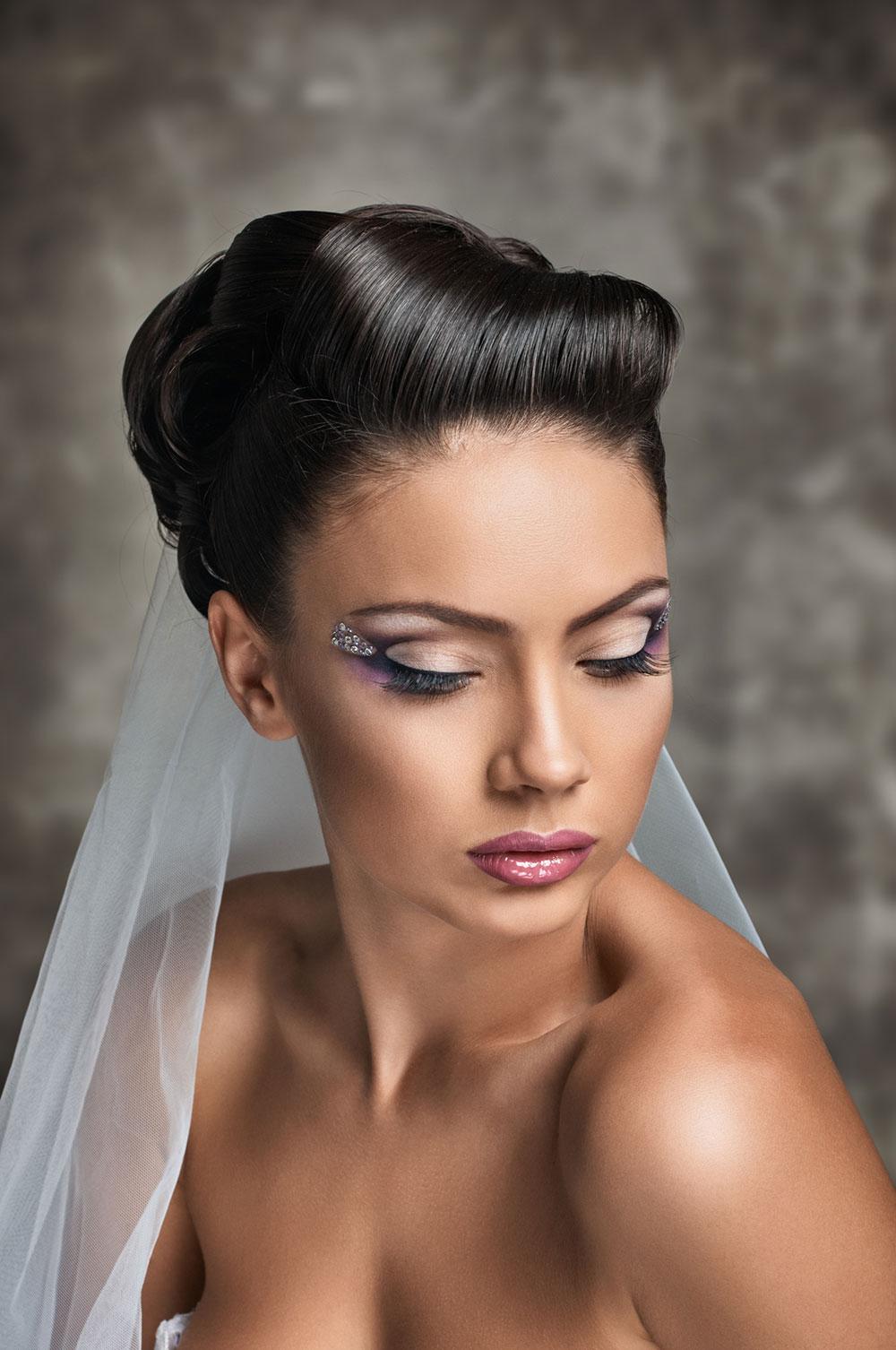 Pinned black retro updo Short hair wedding style
