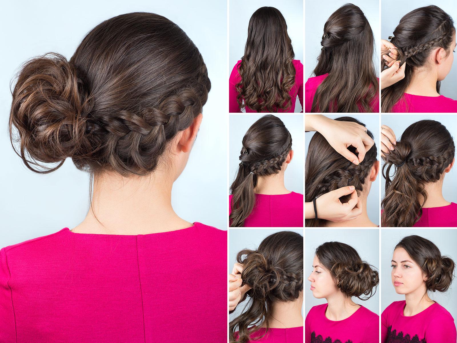 Braided side bun updo for long hair