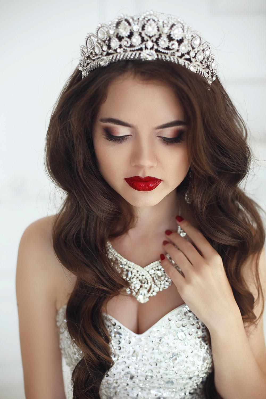 Dark Red Bold Lipstick Bridal Makeup