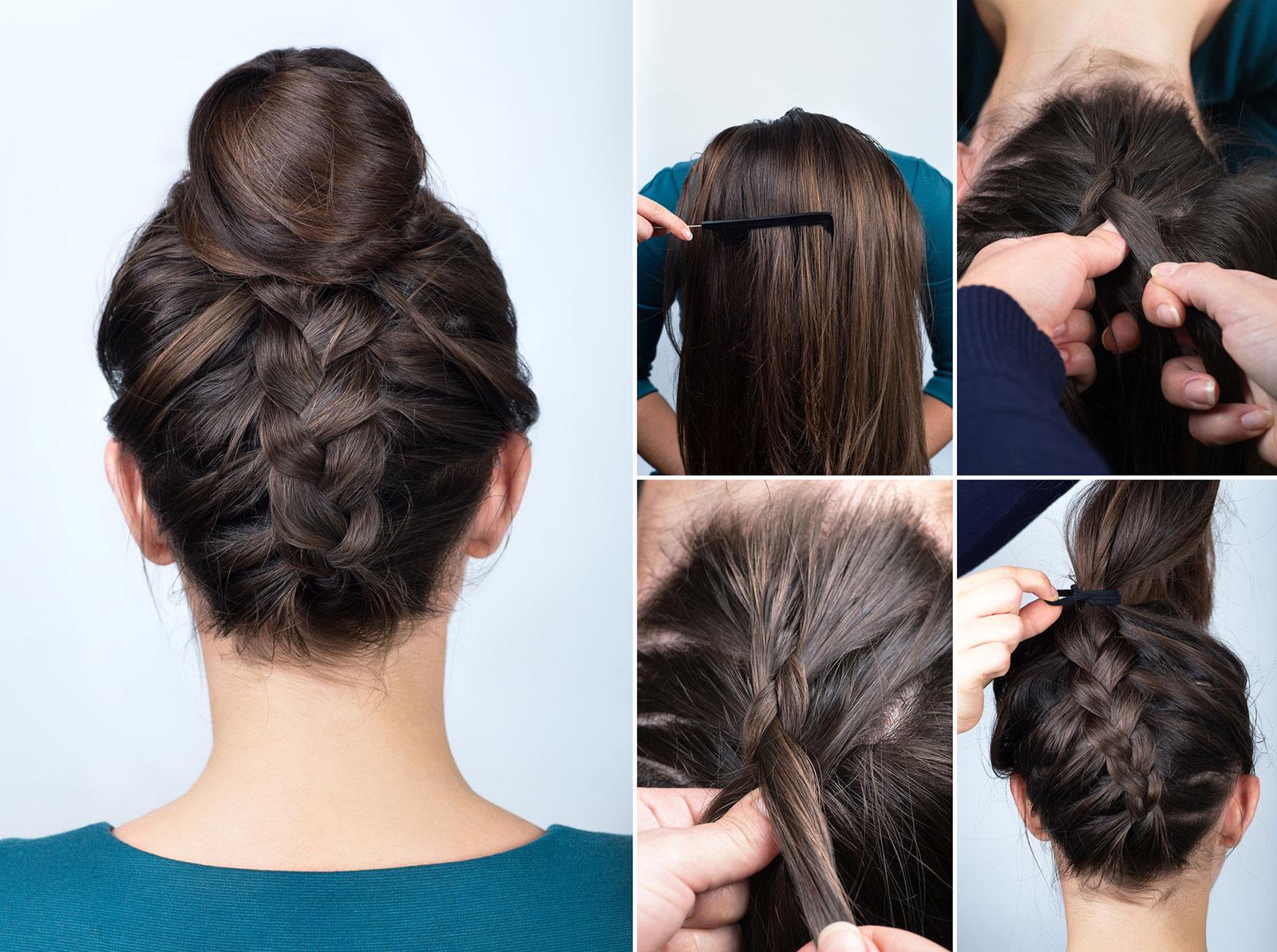 Dutch upside down braid bun easy updo for long hair