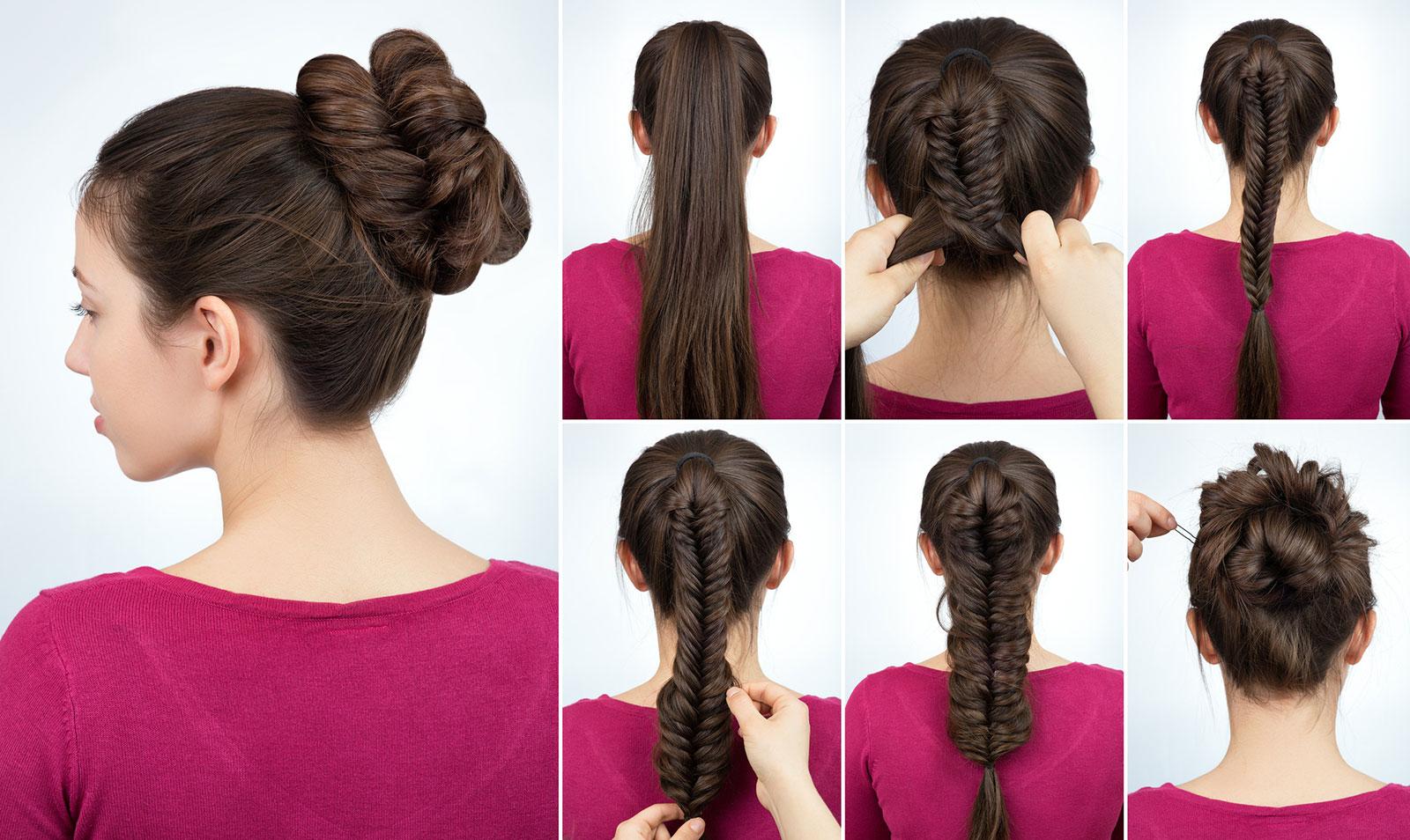 Fishtail bun updo for long hair