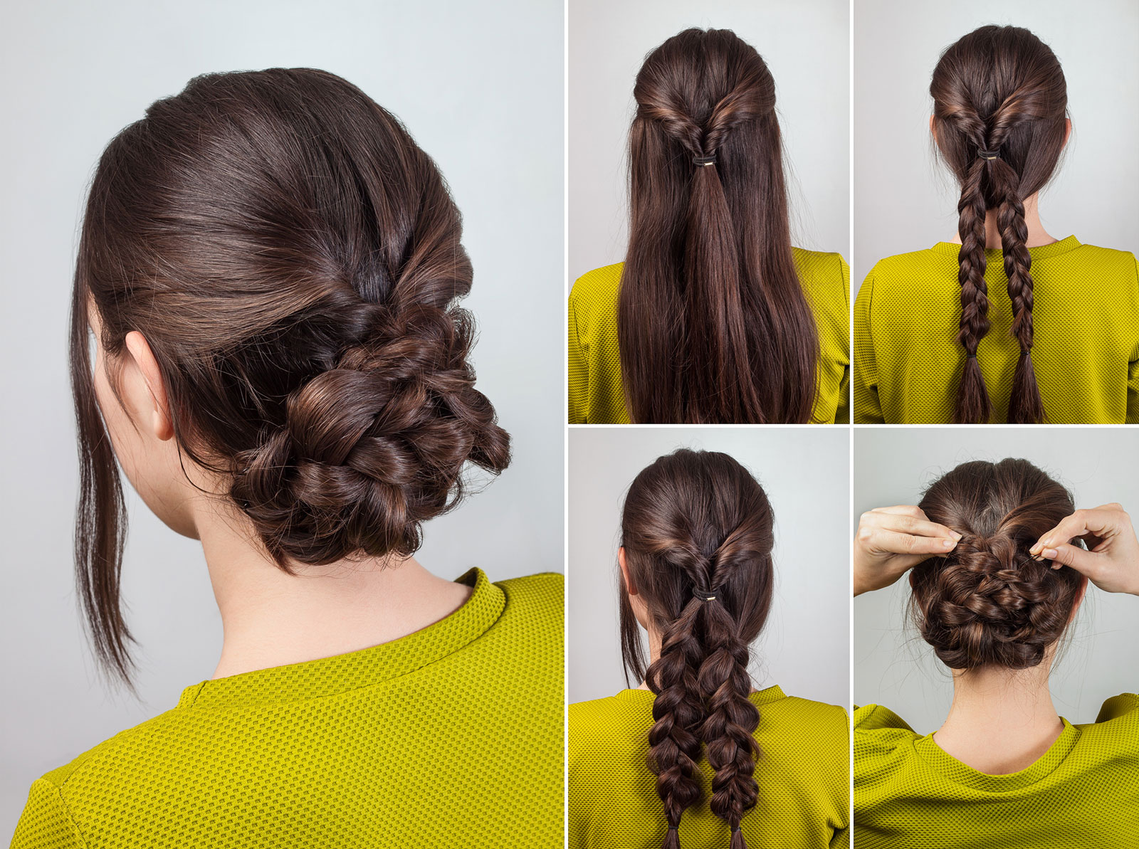 Loose plaited easy updo for long hair