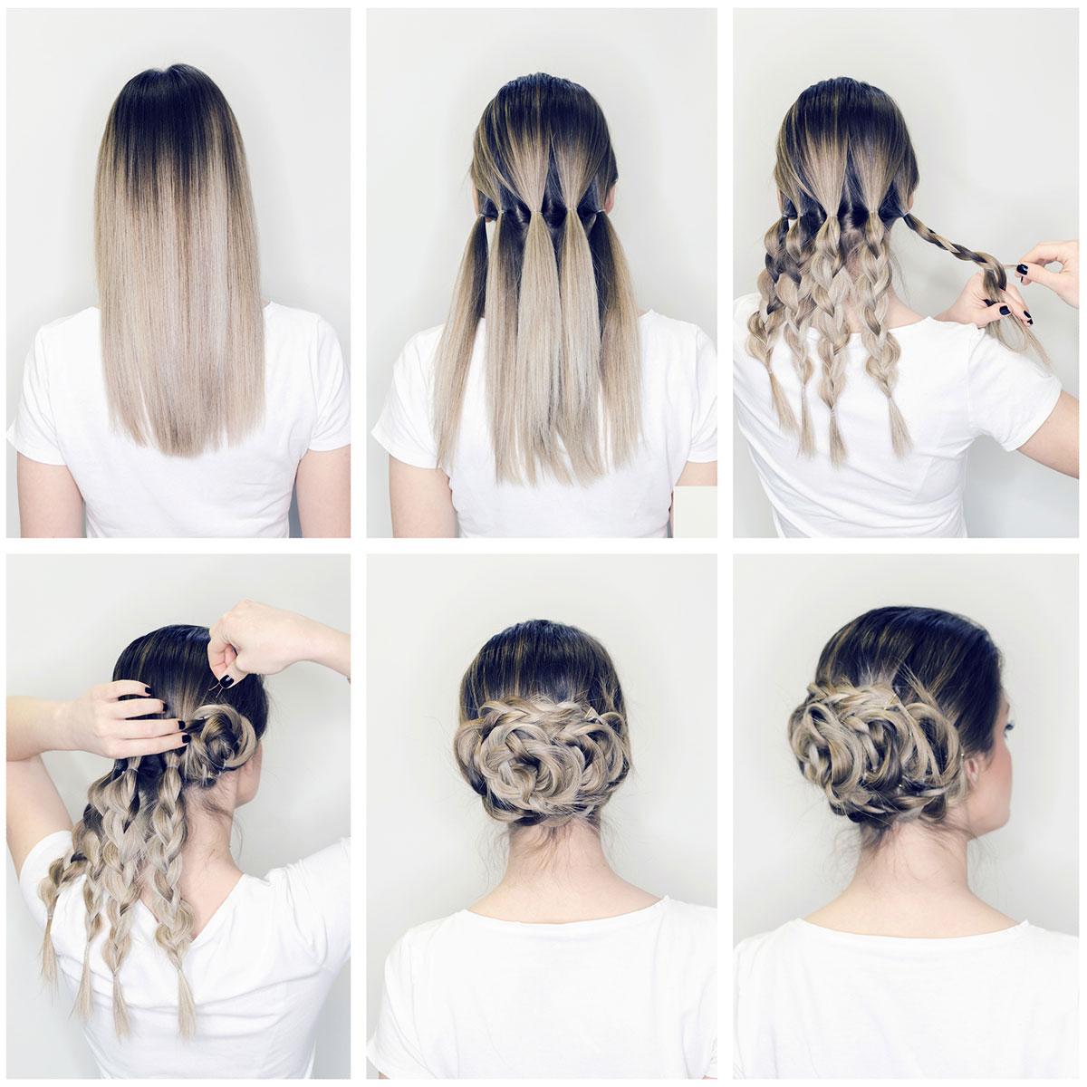 Rose bun updo for long hair