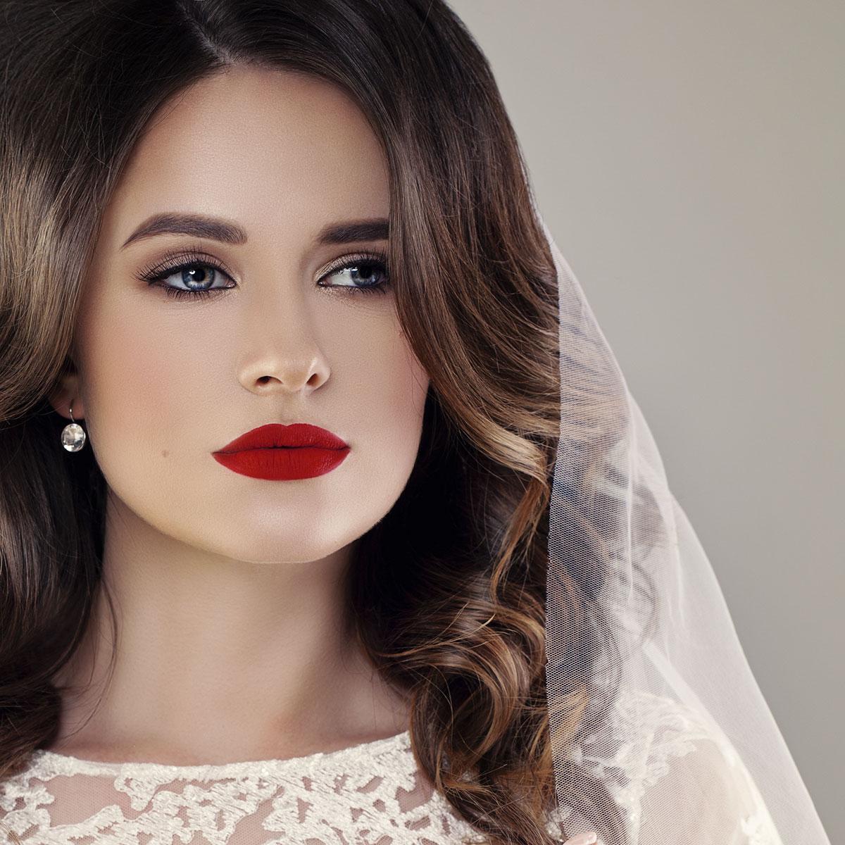 Soft Face & Matte Lips Wedding Makeup