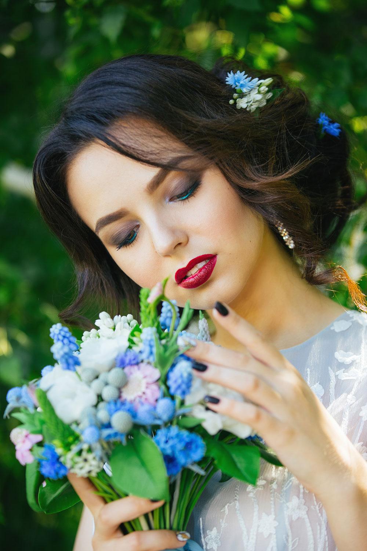 Subtle Eyeliner With Dark Red Lipstick wedding eye makeup