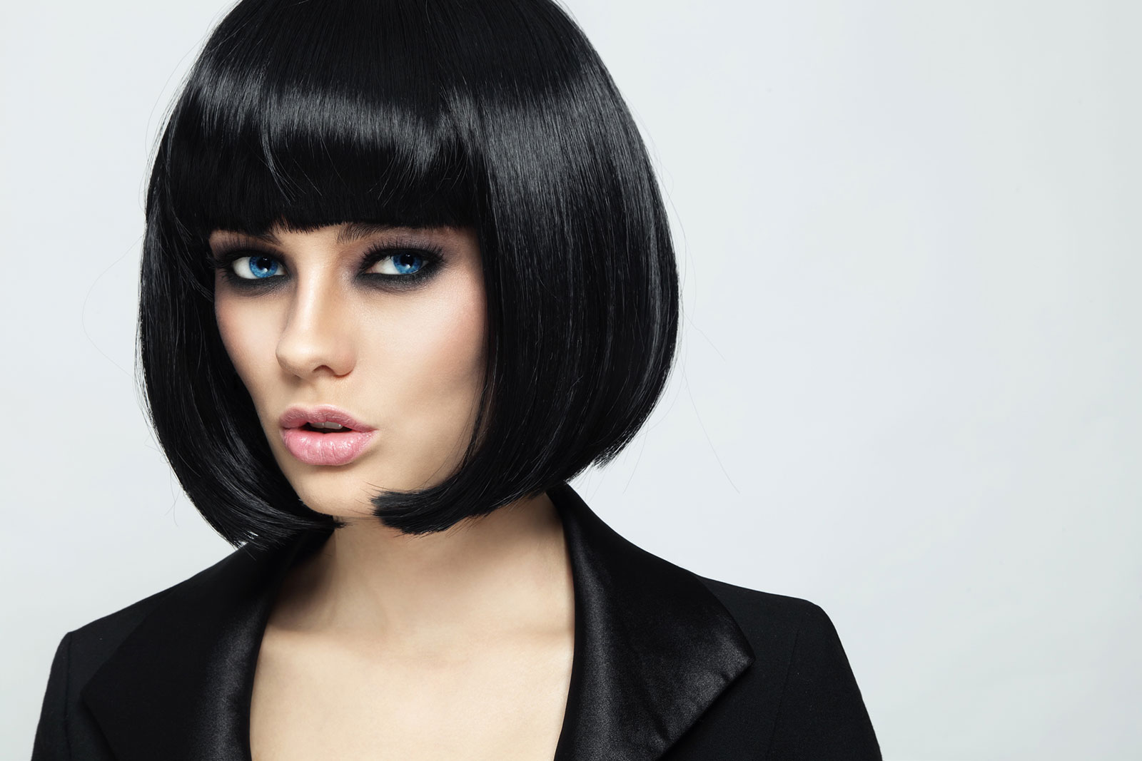 Black rounded bob with inward curl