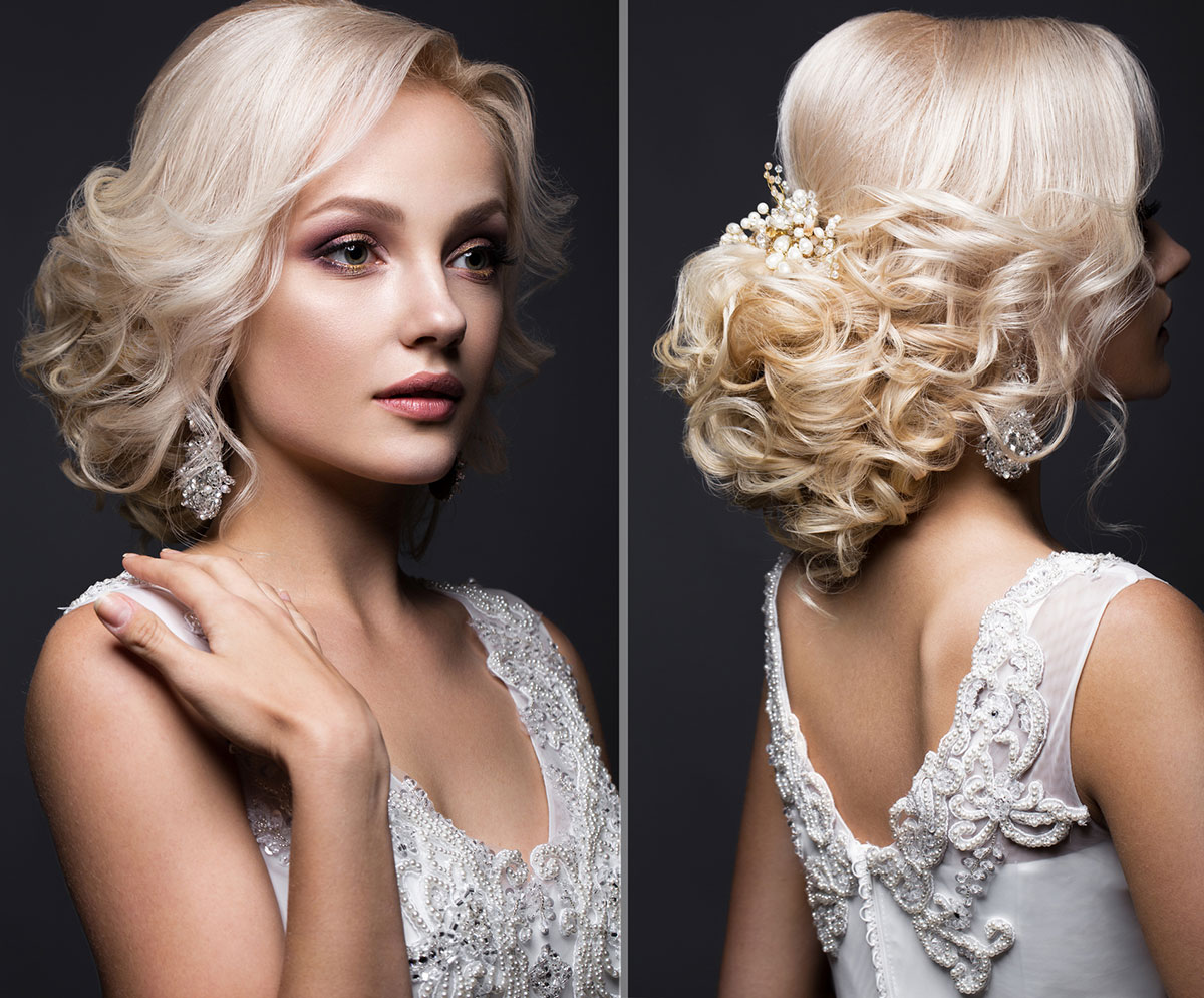 Blonde curly chignon Wedding hairstyle for ladies