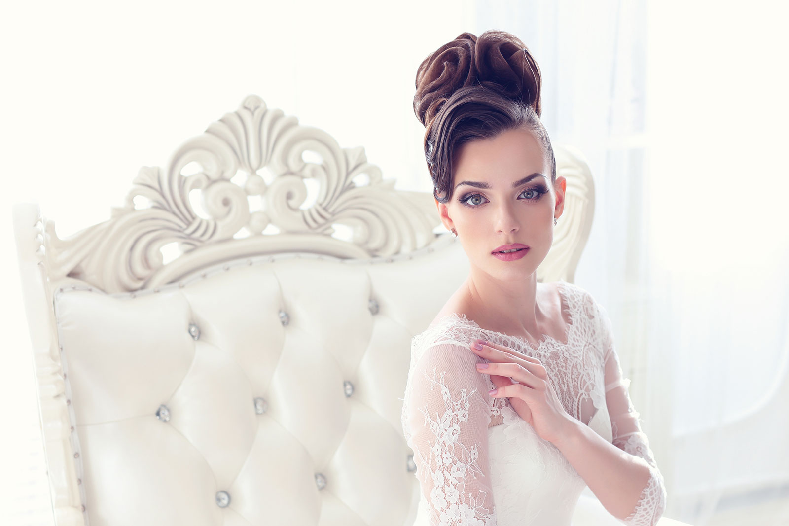 Fancy high princess bun Bridal Hairstyle