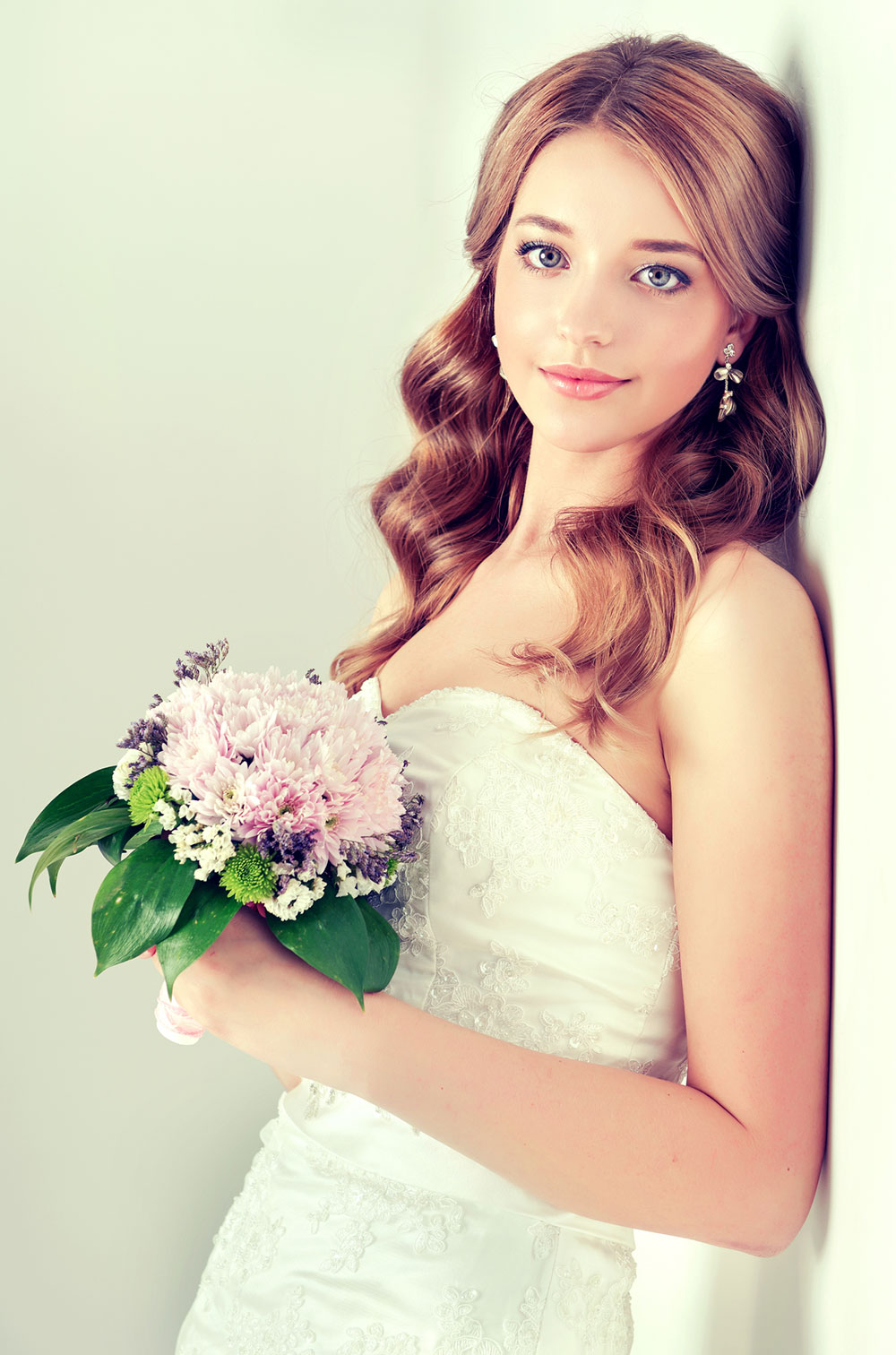 Long and wavy with a center parting Bridal Hairstyle