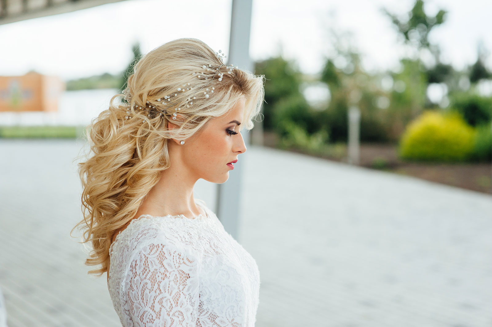 Long pinned and tied back Wedding hairstyle for women
