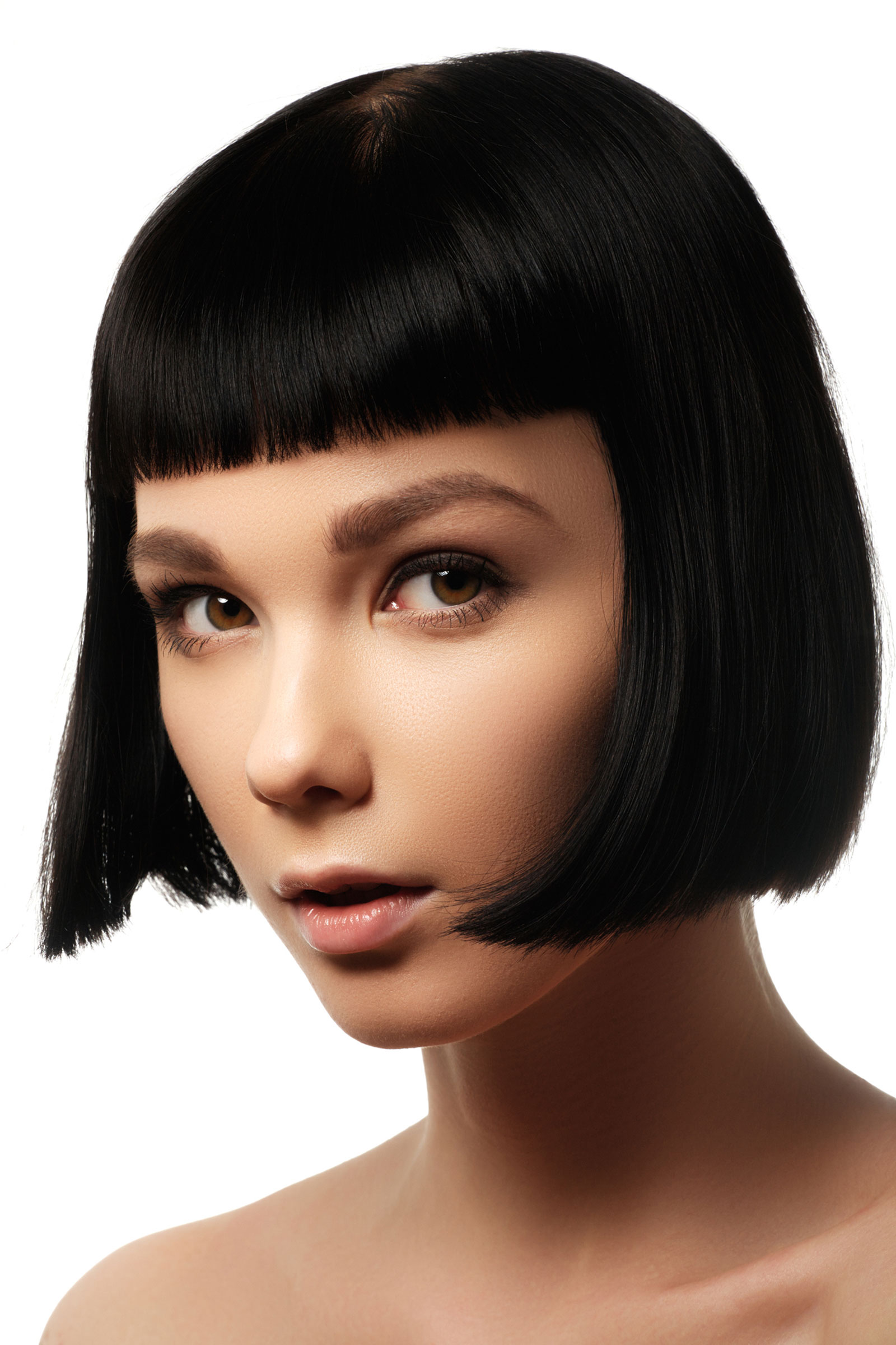Short box bob with blunt fringe