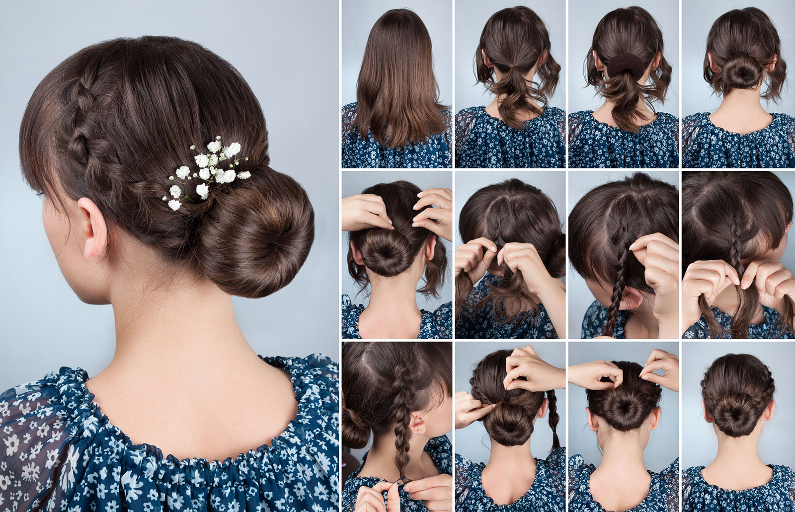 Classic bun with side braid easy hair updo