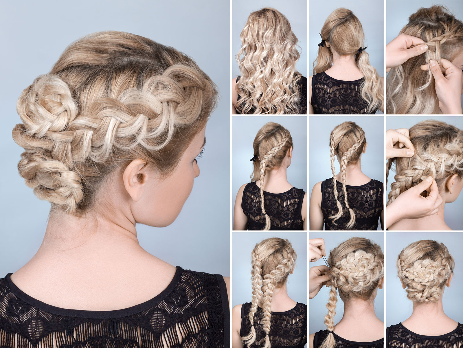 Multi strand braid updos for long hair