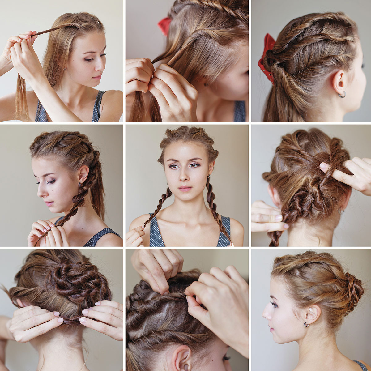 Multi twist easy updo for long hair