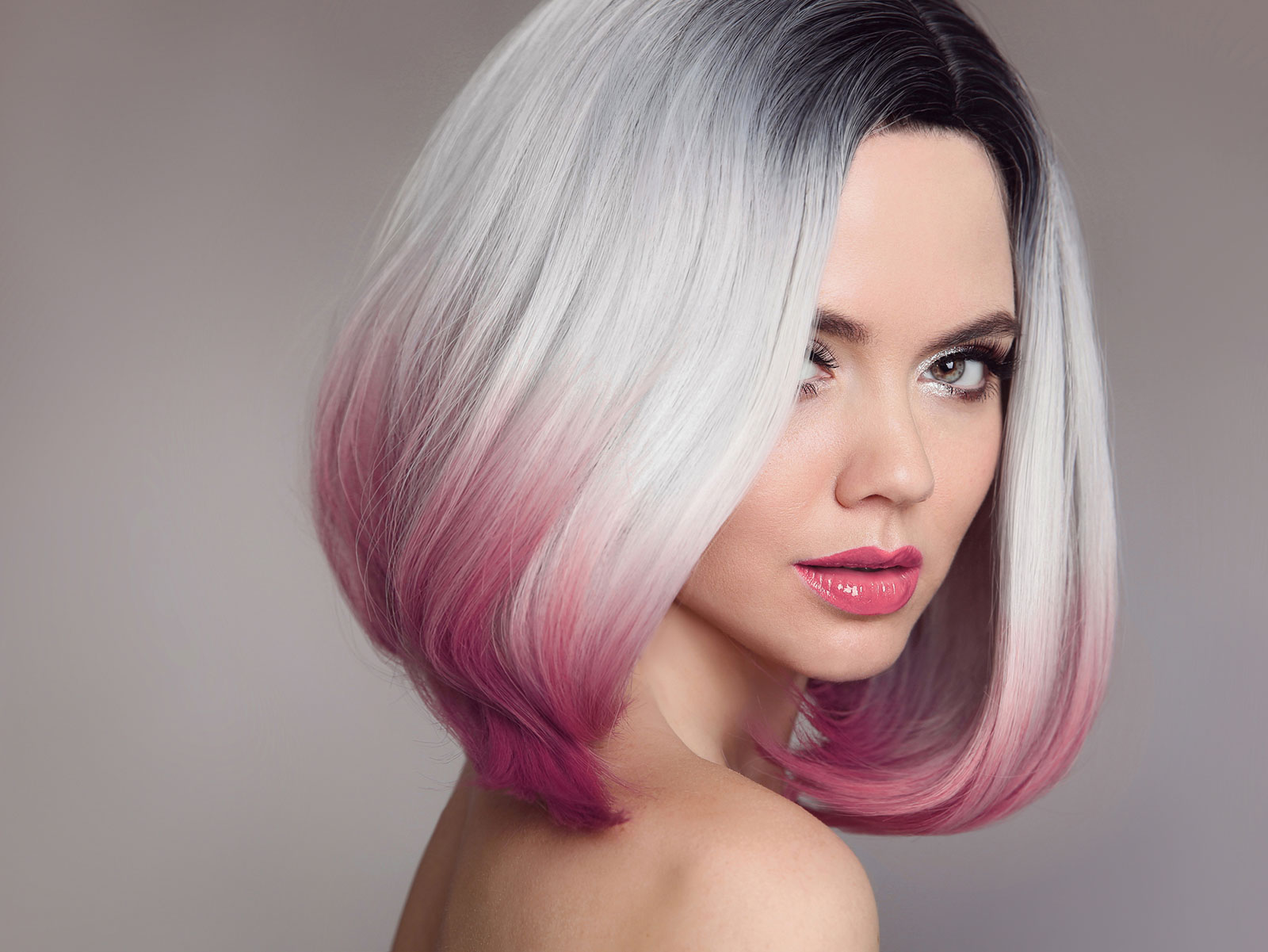 The platinum pink ombre bob hair