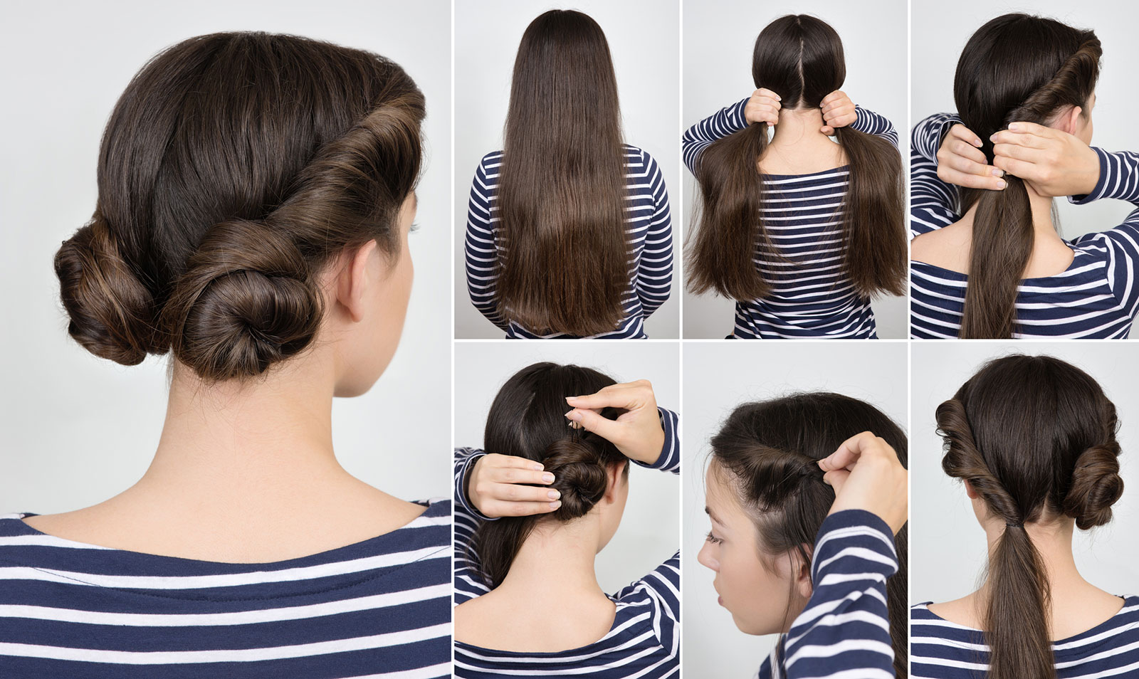Twisted double buns easy hair updo